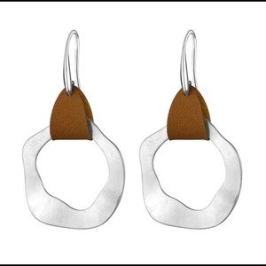 Silver and Leather Earrings - New